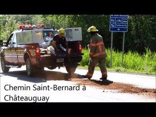 Déversement  d'huile sur le chemin Saint-Bernard