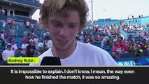 "(Subtitled) ""It is impossible to explain...he is a true legend."" Rublev on defeating Federer"