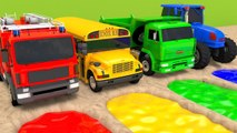 Learn Colors with Street Vehicle Outdoor Sand Playground and Toy Truck Finger Family Song for Kids