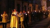 Départ de la procession aux flambeaux de Plombière-les-Bains