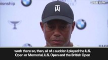 (Subtitled) 'You kidding me?' - Tiger Woods reacts to Augusta questions