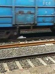 Man escapes death after train runs over him