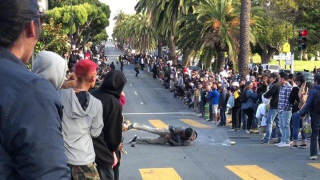 Guy Hillbombing on Skateboard Falls Hard onto Concrete