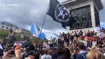 Vegan activists Animal Rebellion stage protests in London's Trafalgar Square