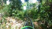 Parcours de bobsleigh dans la forêt en Jamaïque entre les arbres ! Rasta Rockett