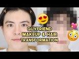 Giving Our Guyfriend a Korean Dewy Makeup & Hair Transformation (ft.Kiccc) | Q2HAN