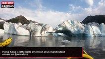 Alaska : deux kayakistes surpris par l'effondrement d'un glacier (vidéo)