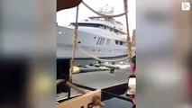 Un yate de lujo choca contra un muelle en Australia asustando a los comensales de un restaurante flotante