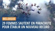 Avec leurs figures aériennes, ces 29 parachutistes belges ont établi un nouveau record