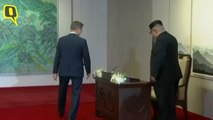 N Korean leader Kim Jong Un & S Korean President Moon Jae-in Greet Each Other