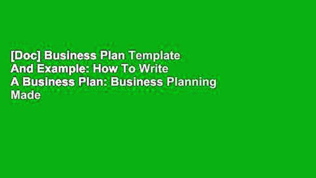 [Doc] Business Plan Template And Example: How To Write A Business Plan: Business Planning Made