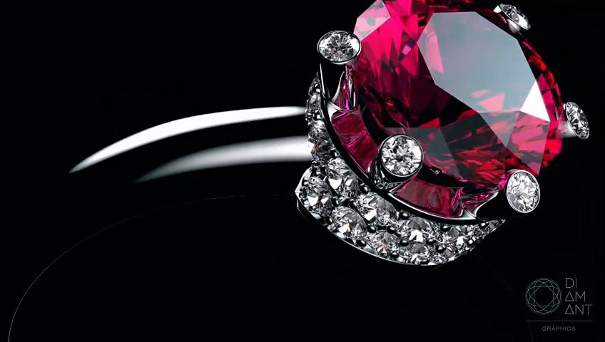 Diamond and pink sapphires set in 4K. Jewelry rendering.