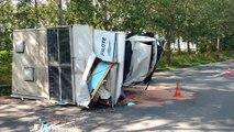 Nimy. Accident spectaculaire entre camion et un mobilhome.5 blessés dont des graves. Vidéo Eric Ghislain