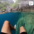 A spectacular lake in the Philippines with crystal clear water