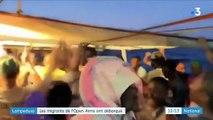"""Italie : les migrants de l' """"Open Arms"""" ont débarqué à Lampedusa"""