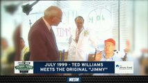 """Ted Williams Meets Original """"Jimmy"""" From Jimmy Fund For First Time In July 1999"""