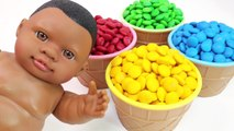 Learn Colors M-Ms Chocolate Ice Cream Cups Baby Doll Surprise Toys For Kid Children