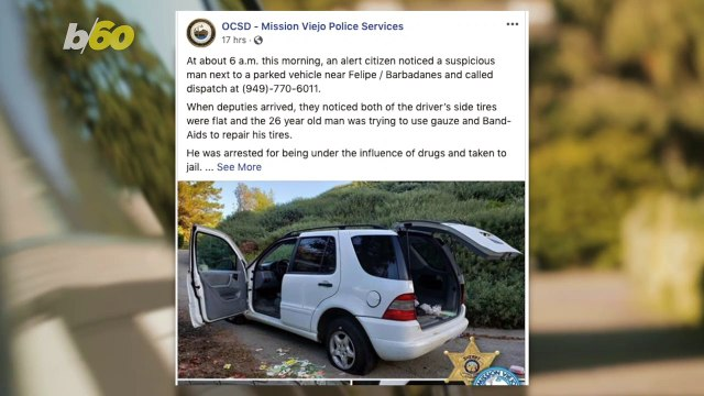California Police Arrest Man After Finding Him Fixing Flat Tires With Band-Aids & Gauze!