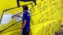 Villars-Fontaine : l'artiste Delta en plein travail au festival Street on the rock (1 sur 2)