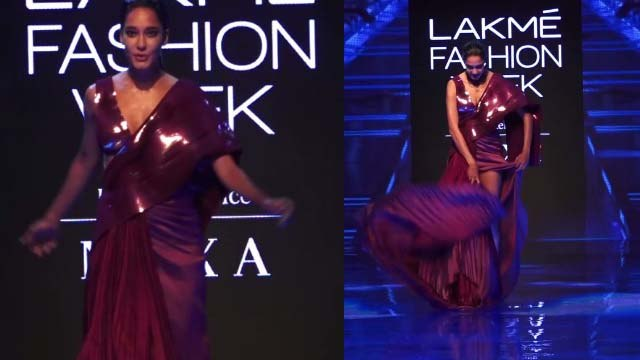 Pregnant Lisa Haydon slips on ramp at Lakme Fashion Week 2019; Watch video | FilmiBeat