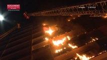 Les images de l'incendie d'un immeuble de l'hôpital Henri-Mondor à Créteil filmées par les pompiers