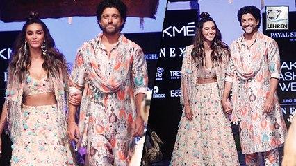 Shibani And Farhan Walk The Ramp Together At LFW Day 2