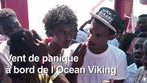 """Panique sur l'Ocean Viking: """"On veut nous renvoyer en Libye"""""""