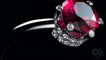 Diamond and pink sapphires set in 4K. Jewelry rendering. -