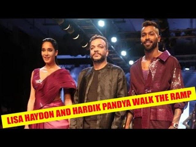Pregnant Lisa Haydon and Hardik Pandya walk the ramp