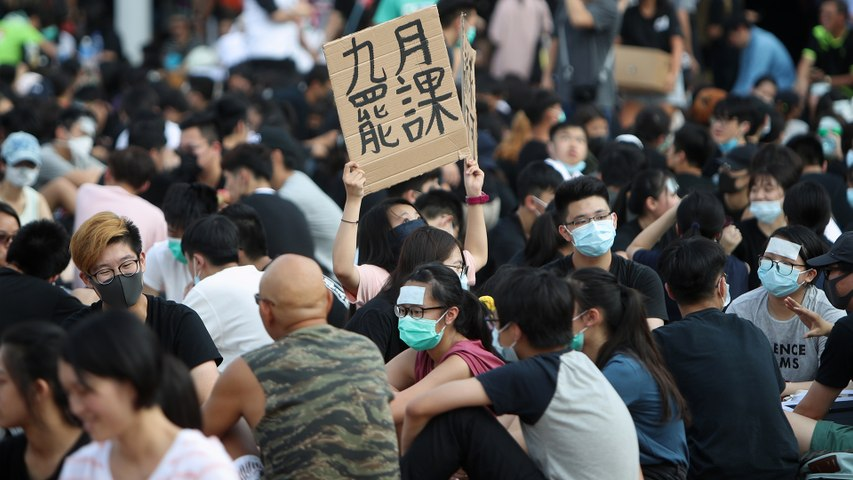 Hong Kong secondary school students voice their demands to government and call for strike on September 2