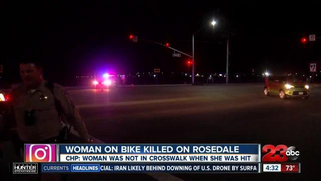 Woman on bike killed crossing Rosedale Highway out of crosswalk