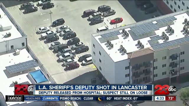Sheriff's deputy shot in shoulder and wounded at Lancaster station; shooter at large