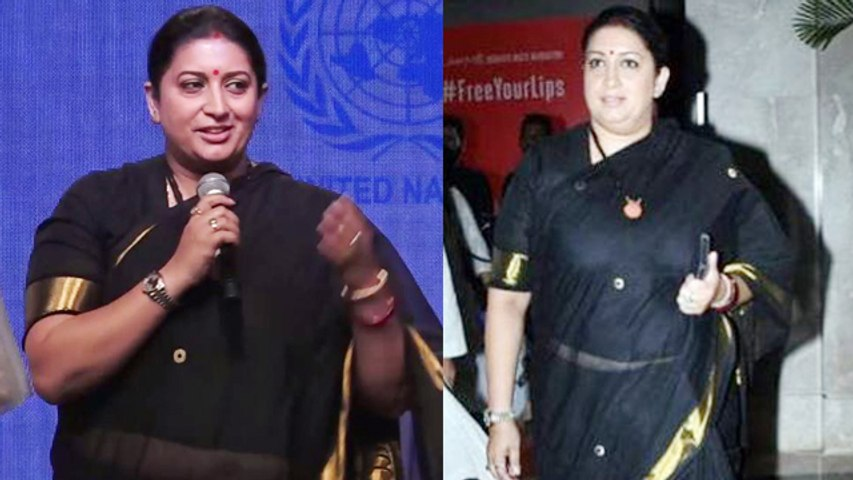 Smriti Irani stuns in Black saree at Lakme Fashion Week 2019; Watch video | FilmiBeat