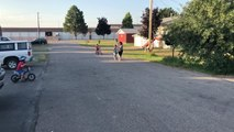 Mom Faceplants While Trying to Push Son on Bike