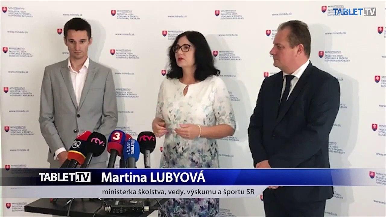 ZÁZNAM: Brífing ministerky školstva, vedy, výskumu a športu SR Martiny Lubyovej