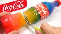 How To Make Rainbow Coca Cola Bottle Drinking Water Pudding Jelly Cooking DIY Surprise Jelly Recipe