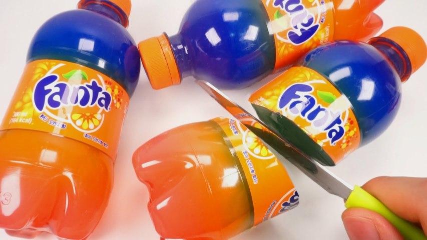 How To Make 3Mini Rainbow Fanta Jelly Pudding DIY Real Orange Gummy Recipe