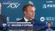 """G7: """"On va lancer une coalition d'action pour le textile, deuxième secteur le plus polluant au monde"""", déclare Macron"""