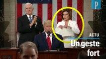 Nancy Pelosi déchire le discours de Trump