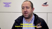 Hockey sur glace Interview d'Eric Sarliève, Coach des Sangliers Arvernes de Clermont-Ferrand, 01/02/2020 (D1 - J21 Clermont-Ferrand VS Neuilly sur Marne)