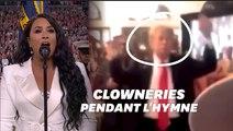 Donald Trump agité et mimant l'hymne américain le soir du Super Bowl