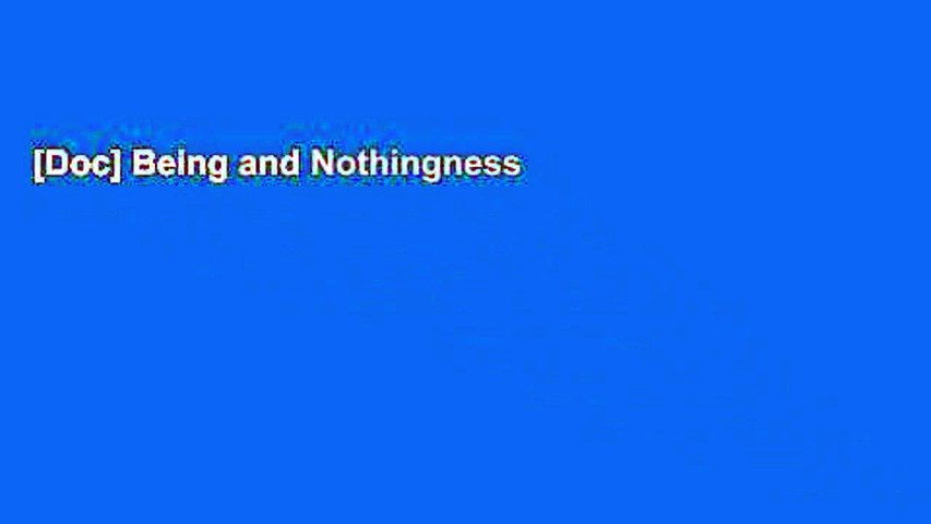 [Doc] Being and Nothingness