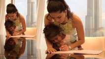 Sunny Leone helps her daughter Nisha in homework during Dubai vacation | FilmiBeat