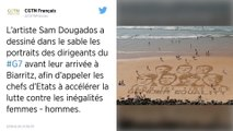 G7 à Biarritz : Des messages éphémères sur le sable interpellent les passants