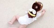 Cet adorable sac à dos abeille permet de protéger la tête de votre bébé
