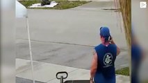 A man attacks another with a sword to steal a garbage truck in the US