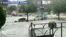Les images de rues transformées en torrents à Madrid après un violent orage