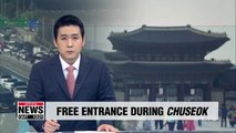 Free admission to palaces and royal tombs, toll-free highways during Chuseok holiday