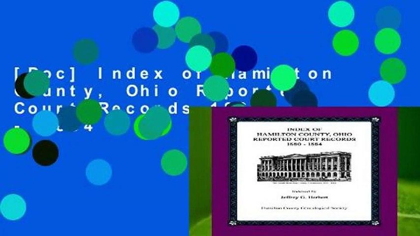[Doc] Index of Hamilton County, Ohio Reported Court Records 1880 - 1884