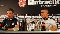 La onférence d'avant-match du Racing avant le barrage retour contre l'Eintracht Francfort.